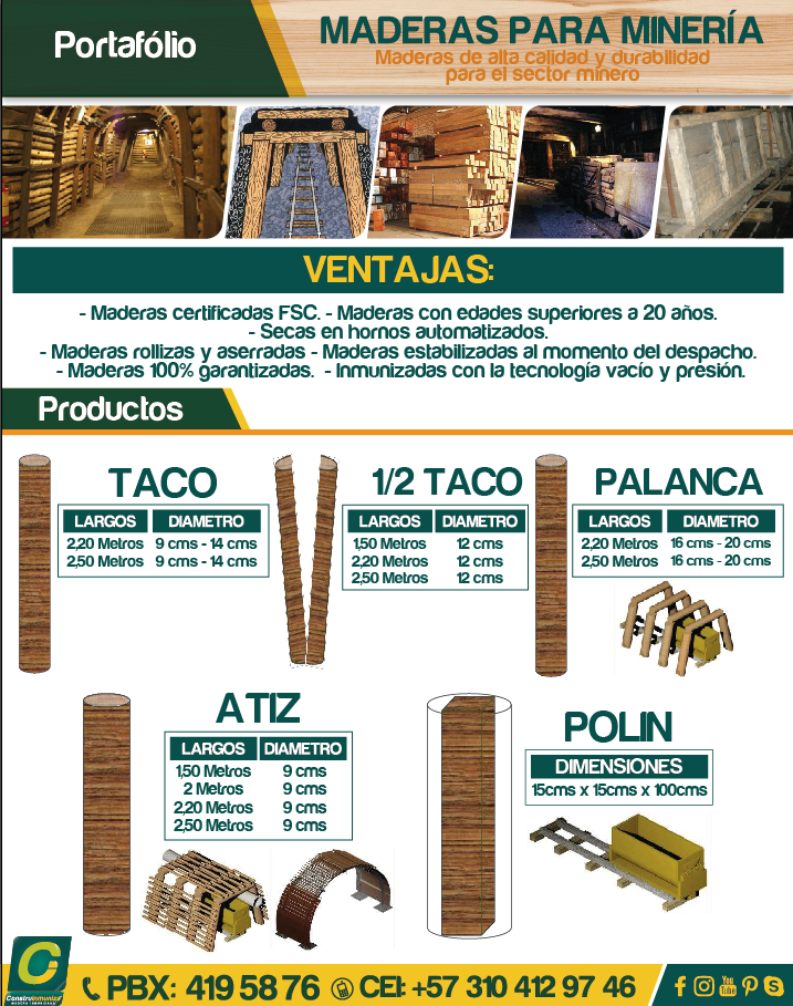 Ficha folder maderas para mineria